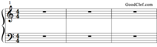 generally the right hand plays the top staff in treble clef and the left hand plays the bottom staff in bass clef these stacked staves combined are also